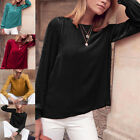 Women New Velvet Shirts Long Sleeve O-Neck Bright Blouses Solid Color Clothes