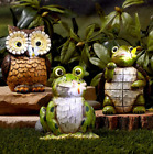 Solar Lighted Carved Wood-Look Garden Statues Yard Outdoor Home Decor