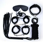 7pc Mouth Ball Whip Collar Eyemask Shackle Restraint Handcuff Game Set Slave