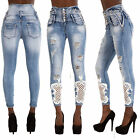 Women High Waist Ripped Jeans Ladies Skinny Denim Sexy Trousers Size 6-14