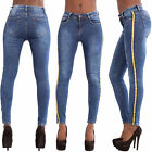 Womens High Waisted Slim Skinny Jeans Ladies Stretchy Striped Pants Size 6-14