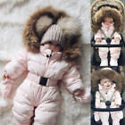 Hot Cute Toddler Baby Boy Girl Winter Romper Jacket Hooded Jumpsuit Coat Outfit