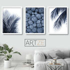 Set of 3 Navy Blue Wall Art Print Palms Fern Leaf Succulent Poster Picture Decor