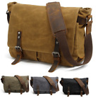 Sling Shoulder messenger bag Canvas & Leather Men Briefcase 14 inch laptop case