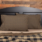 (2) Black Tan Check Country 100% Cotton Standard Pillow Cases  image
