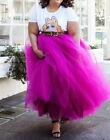 Plus Size Hot Pink 5 Layers Tulle Skirt Summer Maxi Skirts Tutu Pleated SkirtNew