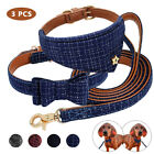 Bow Tie Leather Dog Collar Neck Scarf Leash Set British Style PU Leather Padded