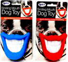 Smiling Mouth Squeaky Dog Toy Chew Novelty Gift Pet Toys Funny Blue or Red NEW
