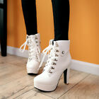 Women Fashion Lace up Matin Ankle Boots Round Toe High Heels Party Dating Shoes