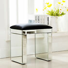 Mirrored Glass Vanity Table Bedside Cabinet Nightstand Stool Mirror W/ Drawer