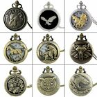 Steampunk Hollow Animals Antique Pocket Watch Chain Necklace Pendant Quartz Gift image