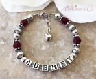 Baby Toddler CHILD'S NAME Bracelet with Birthstone Birthday Gift for Daughter
