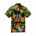 Внешний вид - MEN HAWAIIAN ALOHA SHIRT IN BLACK WITH YELLOW AND RED FLORAL