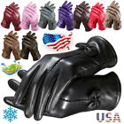 US Gloves Women's Genuine Lambskin Leather Solid Winter Warm Driving Soft Lining