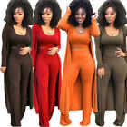 Women Fashion Solid Color Rib Bodycon Casual Club Jumpsuit Outfits Three Piece