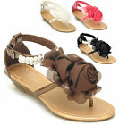 NEW Women's Flower Bow Pearl Ankle Strap Low Wedge Thong Sandals Size 6 7
