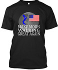 Funny Moon Walking Patriotic T-Shirt  Black new T-Shirt S-234XL M1048