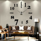 DIY 3D Stick On Wall Clock Large Modern Design Decal Stickers GYM Cafe Office