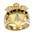 Men's Sterling Silver Yellow Gold Plated Masonic Symbol Ring w/ CZ Stones