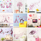 Pink Style Art For Girls Bedroom Decor Removable Vinyl Decal Wall Stickers