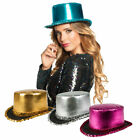 TOP HAT METALLIC SEQUIN TRIMMED WITH SATIN FINISH PARTY CARNIVAL NOVELTY HATS