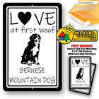 Love At First Woof Bernese Mountain Dog Man Cave Home Sign Tin Metal Novelty