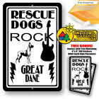 Rescue Dogs Rock Great Dane Man Cave Sign Tin Indoor And Outdoor Metal Novelty