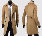 Herren Lang Blazer Sakko Jacke Business Slim Winter Mantel Wollmantel Trenchcoat