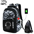 Men Women Laptop Notebook Student Backpack USB Charge Port School Travel Bag