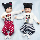 Baby Mickey Maus Overalls Strampler Hose Hüte Jumpsuit Schlafanzug Outfits Set