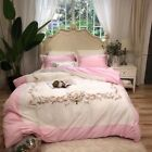 Duvet cover flat sheet 2 pillowcases Overstock Luxury pure cotton splice Pink image