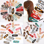 Women Resin Hair Slide Clips Side Snap Barrette Leopard Tortoise Shell Hairpins