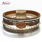 New Women Natural Stone Crystal Multi-layer Leather Bangle Wrap Bracelet Jewelry image
