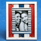 distressed wood red white blue with metal inner border 4 x 6 frame - Gift Favors