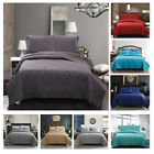 3 Piece Solid Quilt Set- Quilt And 2 Shams Lightweight Bedspread Comforter F/Q K image