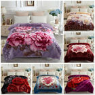 "Fleece Mink Blanket 2 Side Printed Warm Korean Style Bed Blankets 77"" x 87"",5lb image"