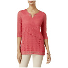 JM Collection Petite Crochet Keyhole Tunic Perfect Rose