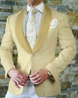 Men Blazer Suit British Champagne Jacquard Paisley Party Suits Groomsmen Tuxedos