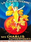 Vintage painting art deco champagne French advert poster canvas framed