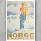 A3 A6 Vintage Travel POSTER - SKI NORGE HJEMLAND - NORWAY - Skiing Retro Print