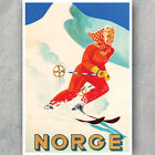 A3 A6 Vintage Travel POSTER - SKI NORGE NORWAY - Retro High Quality Art Print