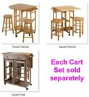"""32"""" Rolling Wooden Storage Cart Kitchen Trolley with Stools Wood Indoor Outdoor"""
