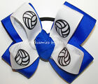 Volleyball Pigtail Ponytail Bow Blue Teams Color Ribbons Bulk Sale School Spirit