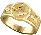 New Men's 14k, 10k Yellow or White Gold Blue Lodge Freemason Masonic Ring