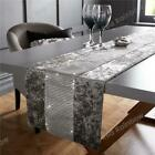 FAULTY SECONDS Diamante Table or Bed Runner Crushed Velvet Silver White Black