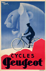 Cycles Peugeot Vintage Bicycle Poster Print Art Advertisement Cycling Art Deco