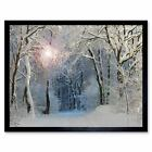 Photo Painting Digital Winter Forest Trees Gift 12X16 Inch Framed Art Print