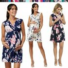 Happy Mama. Women's Maternity Nursing Skater Dress Sleeveless Layered Neck. 808p