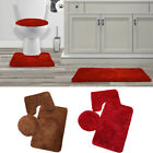 3pc Set Carpet Rug Contour Mat Toilet lid Cover Bathroom plain solid Multi-color