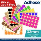 Adheso 32mm Coloured Dot Stickers Round Sticky Dots Adhesive Circles Labels